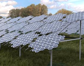 Hexagonal pv solar panel array 3D model