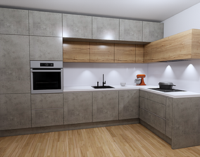 3D asset modern kitchen and tv set oak concrete decor