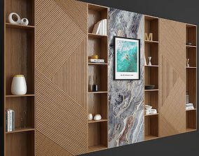3D model Wood and Marble Shelf