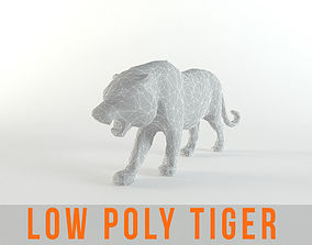 3D model Tiger Low poly Mammal Wild Africa Lion Lowpoly