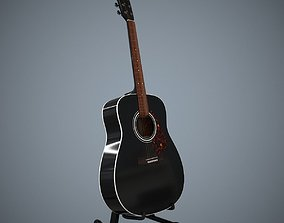 Acoustic Guitar and Guitar Stand 3D asset