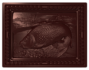 Carp Fishing Bas relief 3D printable model