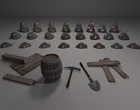 Mining items pack and ores 3D model
