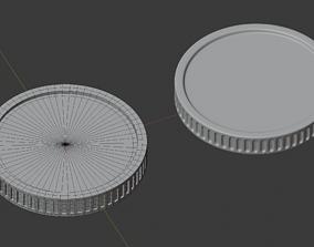 Coin cash money quad polygon subdividable 3D model