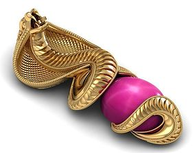 3D print model pendent snake cobra oval gem