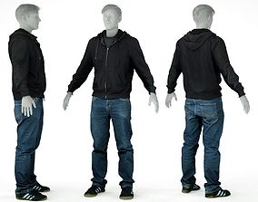 Male Casual Outfit 18 Hoodie Jeans Shoes 3D model
