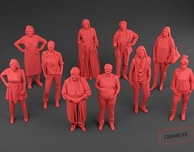game-ready Scanned women Low Poly set 01 - 10 models