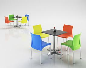 Plastic Court Chairs Set 3D model