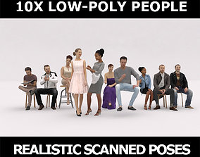 10x LOW POLY CAFETERIA CASUAL RESTAURANT PEOPLE 3D model 1