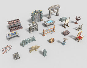3D asset 20 low poly dungeon props pack