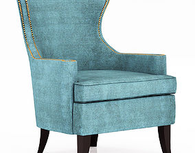 3D model Pacific Blue Elliott Wingback Chair