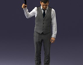 Young man in vest and trousers 0455 3D print ready
