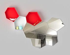 Modular shelf mirror Moss Calligaris 3D model