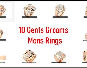 10 Gents Mens Grooms Cocktail Ring 3dm stl renders
