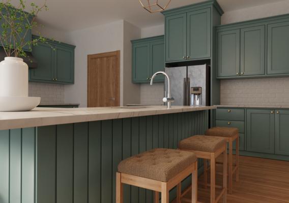 3D visualization of kitchen furniture.