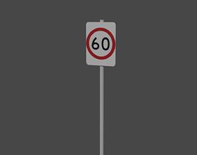 Australia Speed Limit 60kmh Sign 3D