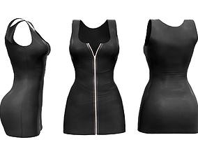 3D asset Zip Up Sleeveless Mini Dress