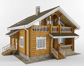 Log house - rounded log 3D