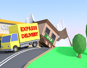 LowPoly Countryside Delivery Animation 3D asset