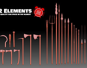 3D print model 22 Axes Spears weapons collection 3