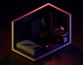 3D asset Low Poly Isometric - vBedroom