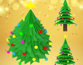 3D model Christmas tree with decorations and star for 1