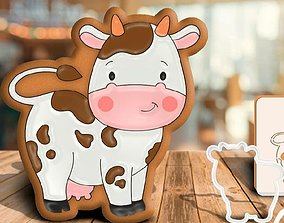 3D print model cookie cutter cow bakingbiscuit