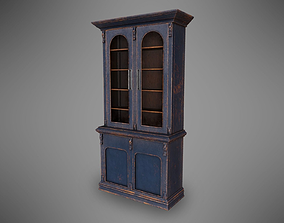 Lowpoly PBR Old Worn Bookshelf 3D model