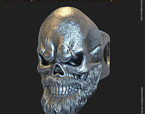 3D printable model Skull with beard vol3 ring jewelry
