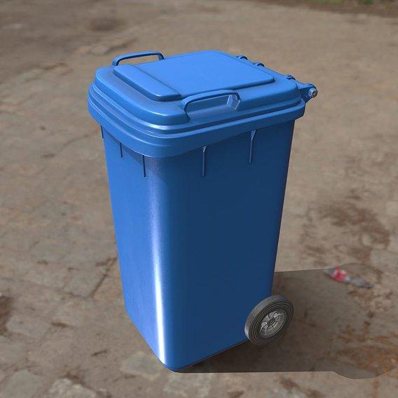 Plastic waste bin blue 240 liters 1075x515x582