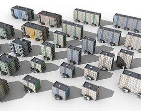 3D asset Blocks Buildings Residental Apartments Flats 26x