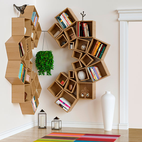 Decorative set of shelves on the wall. Corner design.