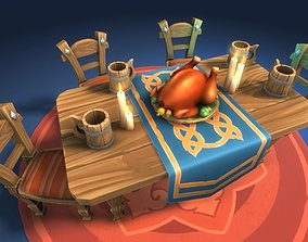 3D model Dinner Table - mediaval furniture set