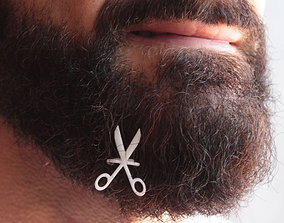 Scissors for beard - front wearing 3D printable model