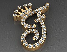 F Letter Crown Diamond Gold Alphabet 3D print model
