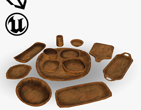 3D asset Styelized Wooden Dishes