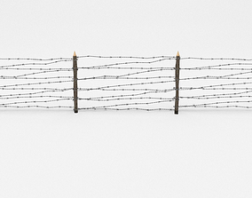 trench Barb Wire Obstacle 3D model