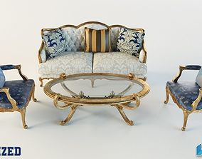 3D Luxury Sofa Table Set
