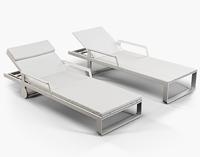 3D Gandia Blasco Flat chaise longue with arms