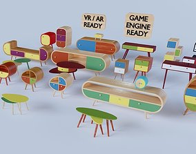 3D asset 70s style furniture collection