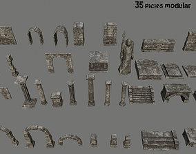 old ruin set 3D asset