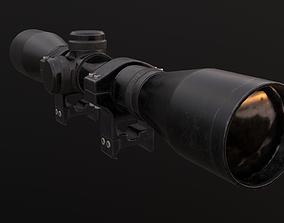 3D asset PO4x34 sniper scope