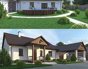 House with garage and veranda 3D model