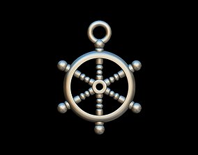 Ship Wheel key ring pendant 3D printable model