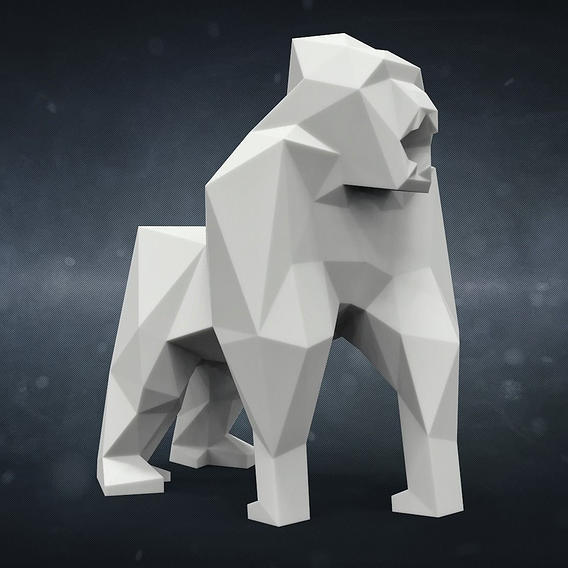 Printable Gorilla in Low-Poly Style