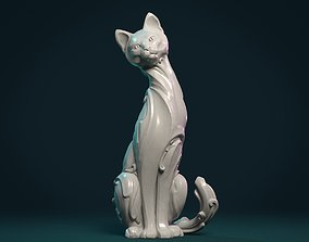 Cat figurine 3D print model baroque