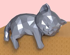 3D print model Low Poly Sleepy Kitten