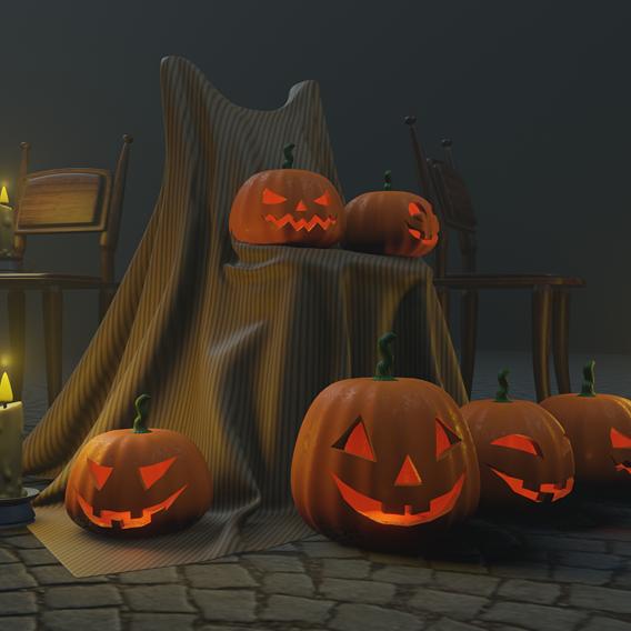 halloween pumpkins candle, chair, basement - game