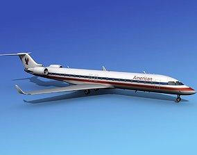 3D model Bombardier CRJ700 American Eagle