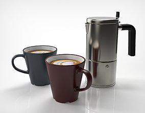 3D Coffee Pot and Coffee Cup